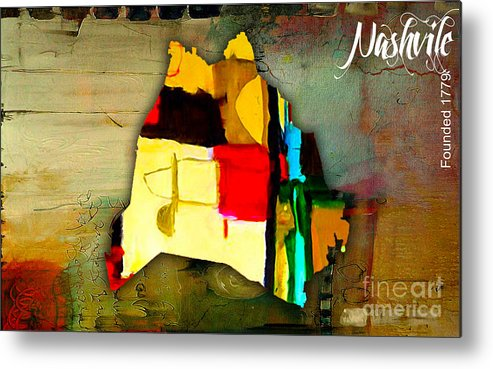 Nashville Art Metal Print featuring the mixed media Nashville Map Watercolor by Marvin Blaine