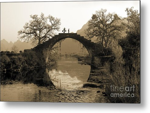 Bridge Metal Print featuring the photograph Ancient Stone Bridge by King Wu