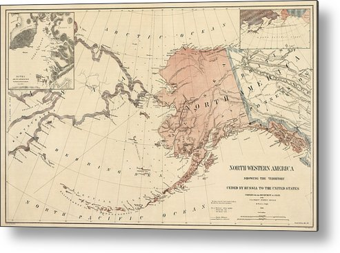 image relating to Printable Maps of Alaska titled Antique Map Of Alaska - 1867 Steel Print