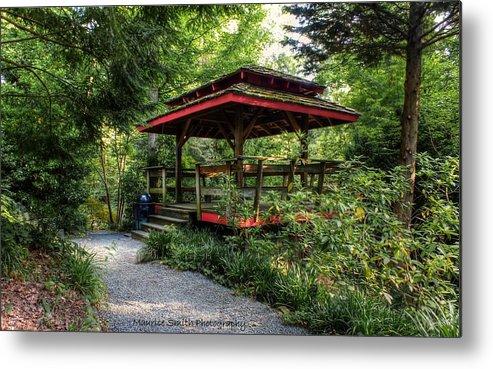 Asian-style Gazebo - Unc Charlotte Botanical Gardens Metal Print by ...