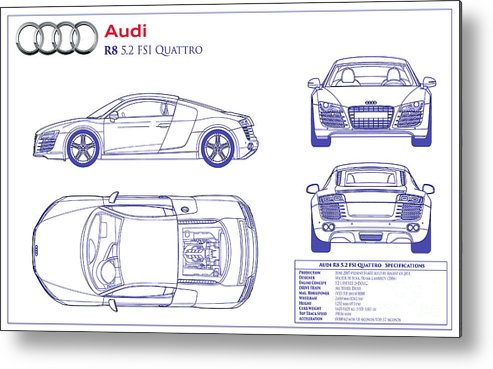 Audi R8 Blueprint Metal Print Featuring The Photograph Audi R8 Blueprint By  Jon Neidert