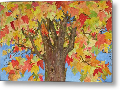 Leaves Metal Print featuring the painting Autumn Leaves 1 by Mary Ellen Mueller Legault