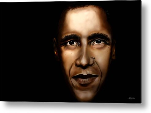 Digital Metal Print featuring the painting Barack Obama - New Day by Anthony Anthony ICONS