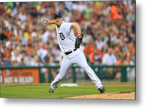 American League Baseball Metal Print featuring the photograph Boston Red Sox V Detroit Tigers by Leon Halip