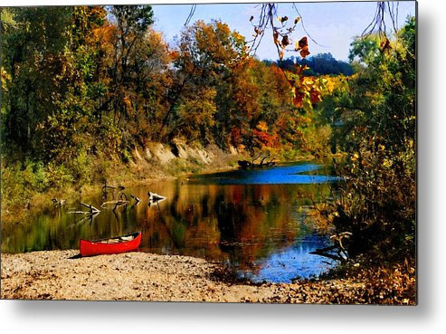 Autumn Metal Print featuring the photograph Canoe On The Gasconade River by Steve Karol