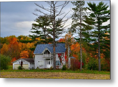 Autumn Scenes Metal Print featuring the photograph Country Cottage In Autumn by Julie Dant