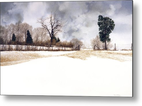Landscape Metal Print featuring the painting Crossroads by Tom Wooldridge
