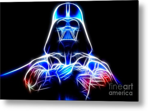 Darth Vader Metal Print featuring the mixed media Darth Vader - The Force Be With You by Pamela Johnson