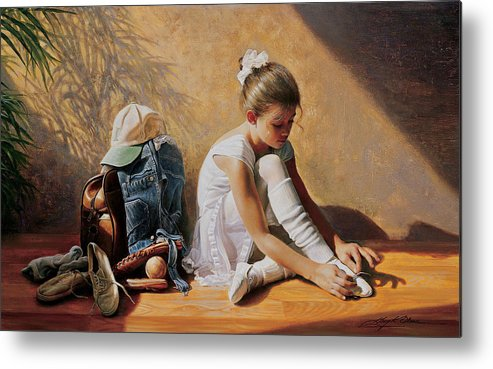 Dancer Metal Print featuring the painting Denim To Lace by Greg Olsen
