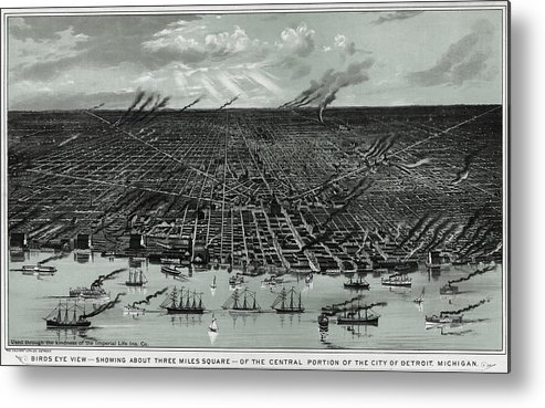 Detroit Metal Print featuring the photograph Detroit Aerial View 1889 by Compass Rose Maps