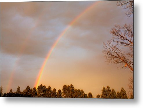 Rainbow Metal Print featuring the photograph Double Rainbows by Bette Bresette