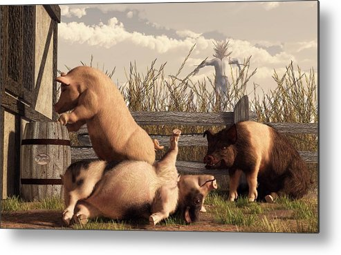 Pig Art Metal Print featuring the digital art Drunken Pigs by Daniel Eskridge