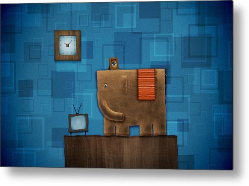 Abstract Metal Print featuring the drawing Elephant On The Wall by Gianfranco Weiss