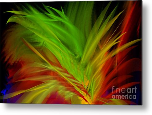Digital Art Abstract Feathers Metal Print featuring the digital art Fabulous Feathers by Gayle Price Thomas