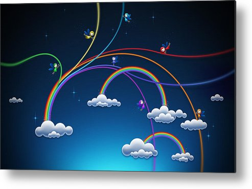 Abstract Metal Print featuring the drawing Fairies Made Rainbow by Gianfranco Weiss