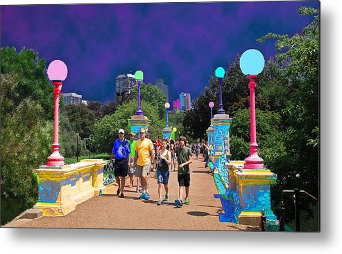 Architecture Metal Print featuring the photograph Funky Foot Bridge by Caroline Stella