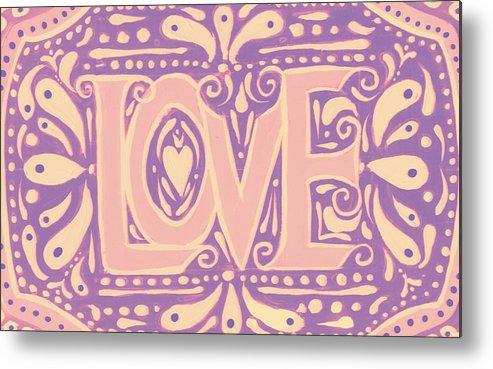 Love Metal Print featuring the painting Gentel Love by Nada Meeks