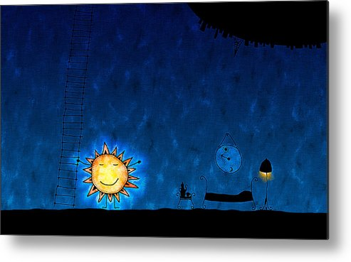 Abstract Metal Print featuring the digital art Good Night Sun by Gianfranco Weiss