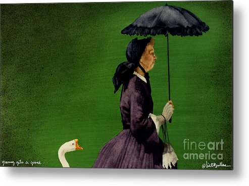 Will Bullas Metal Print featuring the painting Granny Gets A Goose... by Will Bullas