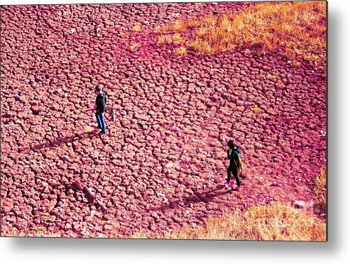 Purple Metal Print featuring the photograph Hiking On The Cracked Purple Earth by Lesley Nolan
