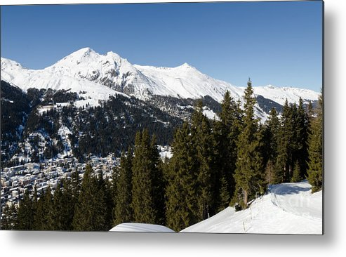 Davos Metal Print featuring the photograph Jschalp Forest Davos Mountains And Town by Andy Smy
