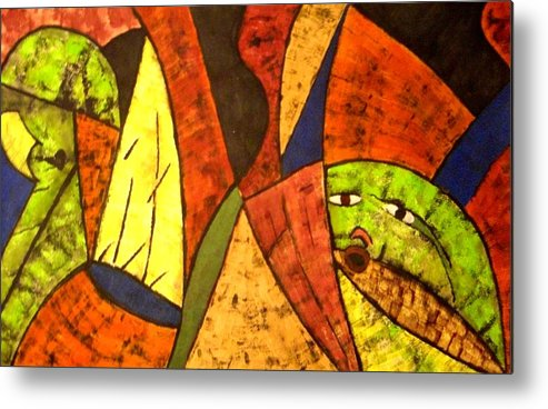 Mixed Media Metal Print featuring the painting Klode Untiled 1 by JeanDarcel Michel