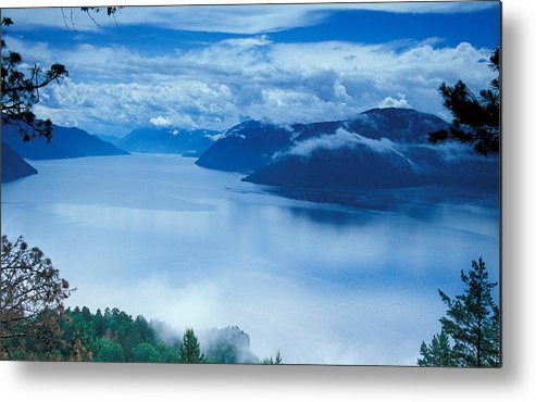 Fog; Landscape; Mist; Mountain; Mountains; Nature; Nobody; Outdoors; Outside; River; Rivers & Lakes; Scenery; Scenic; Scenics; Sky; Trees; Water Metal Print featuring the photograph Landscape by Anonymous
