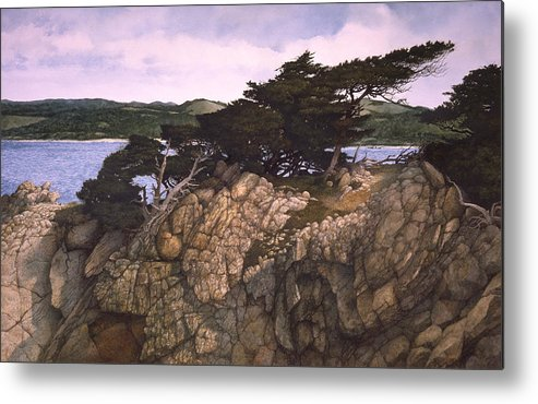 Seascape Metal Print featuring the painting Lobos Lookout by Tom Wooldridge