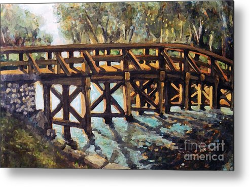 Landscape Metal Print featuring the painting Morning At The Old North Bridge by Rita Brown