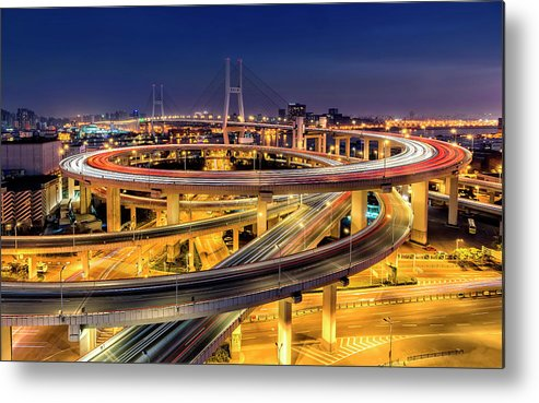 Bridge Metal Print featuring the photograph Nanpu Bridge by Hua Zhu