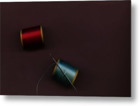 Sewing Notion Metal Print featuring the mixed media Needle And Threads by Bob RL Evans