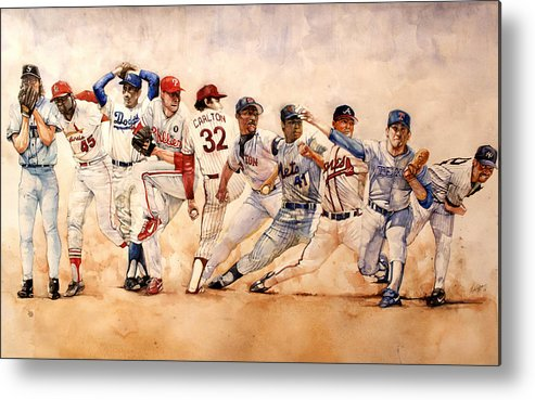 Pitchers Metal Print featuring the painting Pitching Windup by Michael Pattison