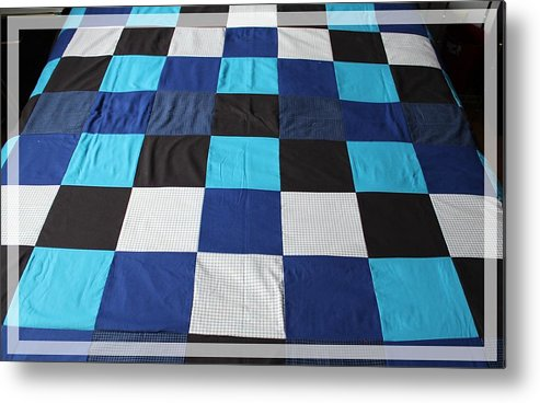 Quilts Metal Print featuring the tapestry - textile Quilt Blue Blocks by Barbara Griffin