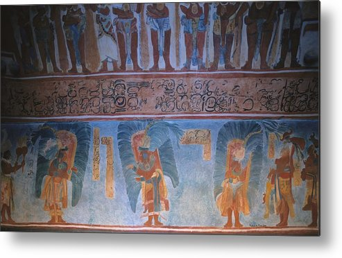 Replica Of The Mayan Wall Paintings Metal Print by Everett
