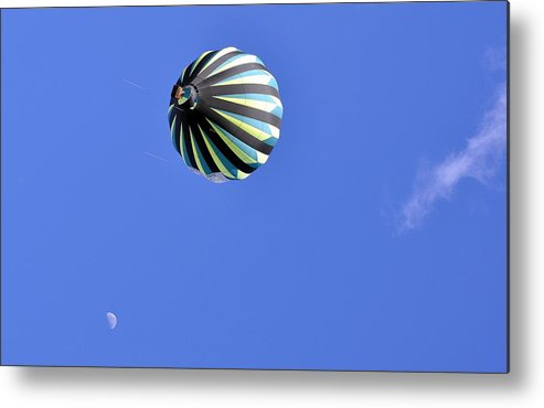 Sports Metal Print featuring the photograph Sky Moon And Balloon by AJ Schibig
