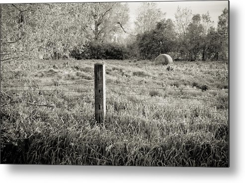 Spring Metal Print featuring the photograph Spring Post And Bale In Black N White by Tracy Salava