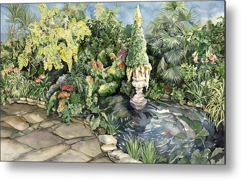 Spring Metal Print featuring the painting springtime at the Allan gardens by Alfred Ng