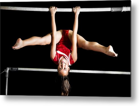 Strong Gymnast Girl Exercising On Uneven Bars  Metal Print