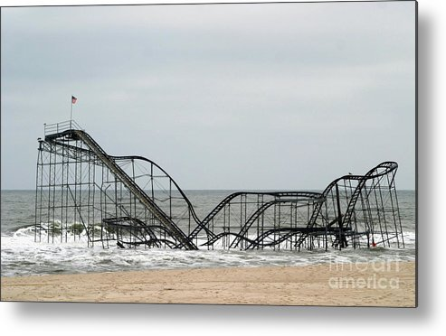 Iconic Metal Print featuring the photograph The Jetstar Rollercoaster In Seaside Heights Nj by Living Color Photography Lorraine Lynch