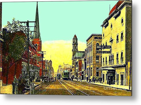 Dallas Tx Metal Print featuring the painting The Majestic Theatre And Commerce St. In Dallas Tx In 1919 by Dwight Goss