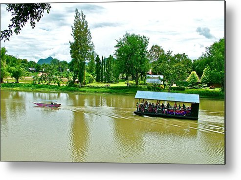 Tourist Raft Being Towed On River Kwai In Kanchanaburi Metal Print featuring the photograph Tourist Raft Being Towed On River Kwai In Kanchanaburi-thailand by Ruth Hager