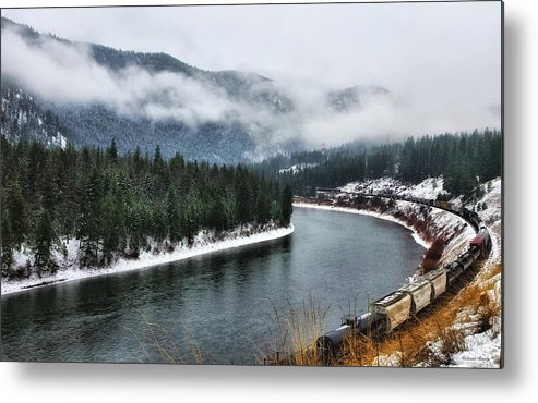 Montana Metal Print featuring the photograph Train Along The River by Susan Kinney