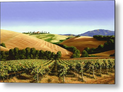 Tuscan Landscape Metal Print featuring the painting Under The Tuscan Sky by Michael Swanson
