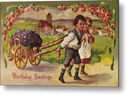 19th Century Metal Print featuring the photograph American Birthday Card by Granger