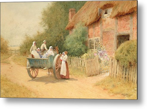 Horse And Cart; Cottage Garden; Rural; Countryside; Vernacular Architecture; Summer; Mother And Child; Baby; Thatched; Waving; Seeing Off Metal Print featuring the painting Farewell by Arthur Claude Strachan