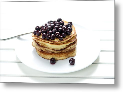 Horizontal Metal Print featuring the photograph Ricotta Pancakes by Marta Greber