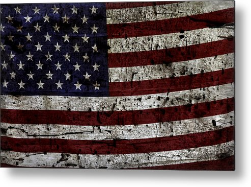 Usa Metal Print featuring the photograph Wooden Textured Usa Flag2 by John Stephens