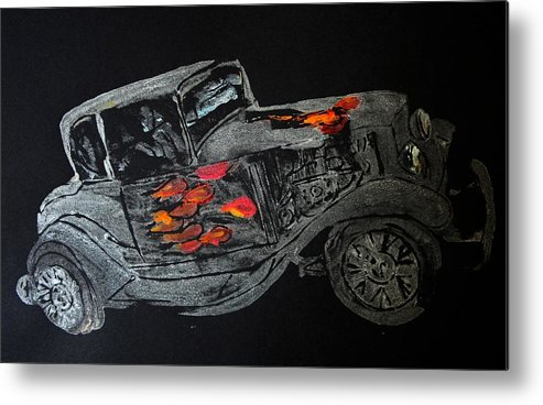 Car Prints Metal Print featuring the painting Ghost On Fire by Ana Bikic