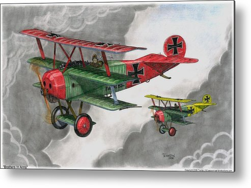 Aircraft Metal Print featuring the drawing Brothers In Arms by Trenton Hill