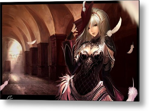Girl Metal Print featuring the digital art Girl by Dorothy Binder